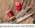 red thread with buttons and scissors 40584802