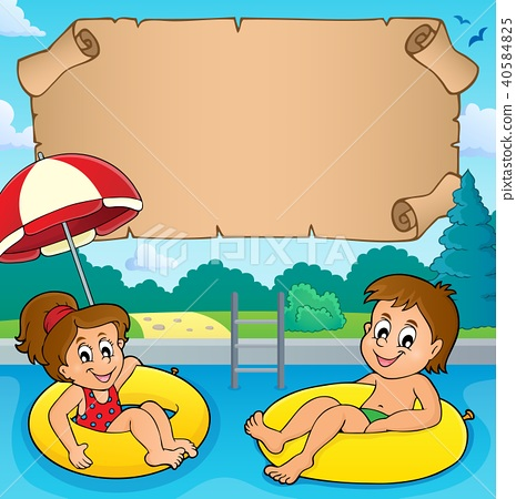Small parchment and kids in pool 40584825