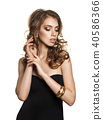 Attractive Woman Wearing Black Dress Isolated  40586366