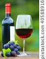 레드 와인 Wine and grapes, green background, Outdoor 3 40588916