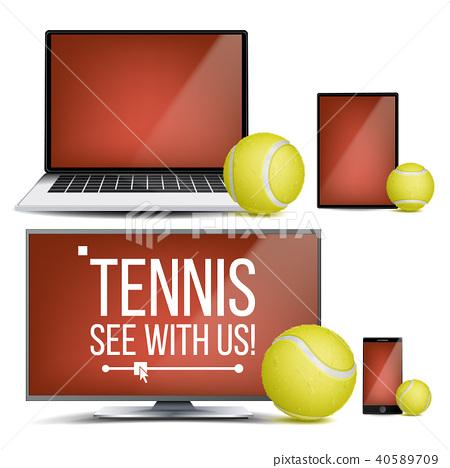 Tennis Application Vector. Court, Tennis Ball. Online Stream, Bookmaker, Sport Game App. Banner 40589709