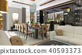 luxurious dining room interior. 3d Illustration 40593373