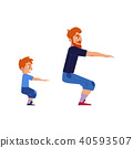 Sport family concept with father and son doing exercises and squat isolated on white background. 40593507