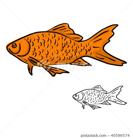 orange fish vector illustration sketch doodle  40596574