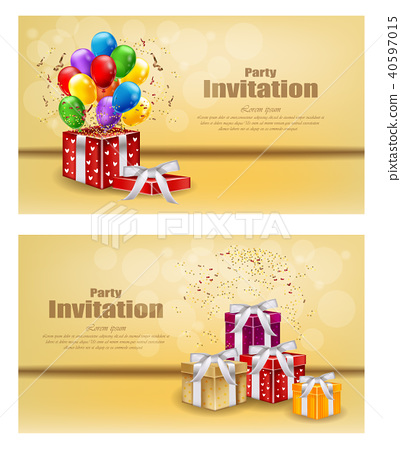 Gifts and Balloons party invitation card Vector - Stock ...