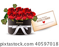 Red roses flowers bouquet card Vector realistic 40597018