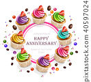 Happy Anniversary Cupcakes card Vector realistic 40597024