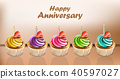 Happy Anniversary Cupcakes card Vector 40597027