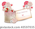 Happy Birthday cake card Vector realistic 40597035