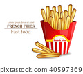 French fries Vector realistic. Fast food template 40597369