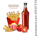 French fries and ketchup bottle Vector realistic 40597370