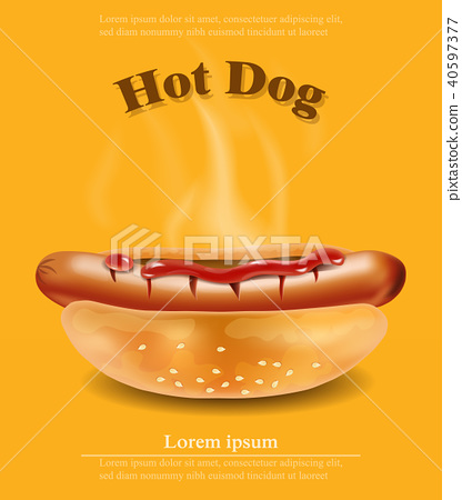 Hot dog Vector realistic. Detailed 3d illustration 40597377