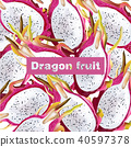 Dragon fruit pattern Vector realistic 40597378