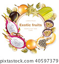 Exotic fruits round frame Vector realistic 40597379