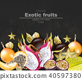 Exotic fruits banner Vector realistic 40597380