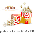 Popcorn Vector realistic. 3d detailed illustration 40597396