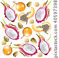 Tropical fruits pattern Vector realistic 40597398
