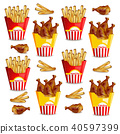 French fries and chicken wings Vector realistic 40597399