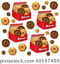 Donuts pattern Vector realistic. 3d deliclous 40597400