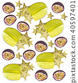Tropic fruits pattern Vector realistic. Starfruit 40597401