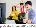 Asian friends fans cheering World Cup 2018. 40597858