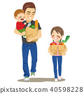 Father Grocery Shop With Kids 40598228