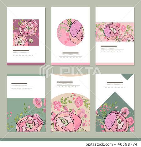 Set with six floral romantic templates. Roses and herbs 40598774