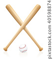 Baseball Bats Ball Set Crossed 40598874