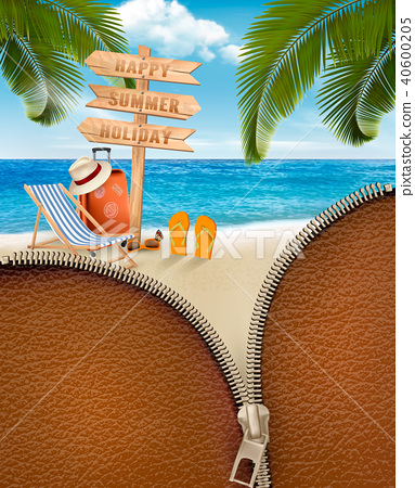 Tropical island with palms, a beach chair 40600205