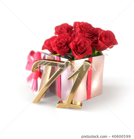 birthday concept with red roses in gift isolated on white background. seventy-first. 71st. 3D render 40600599