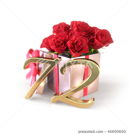 birthday concept with red roses in gift isolated on white background. seventy-second. 72nd. 3D 40600600