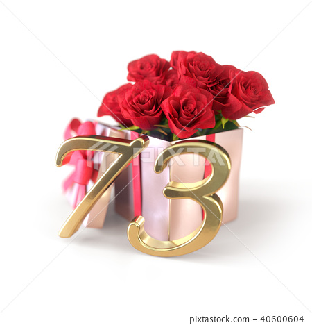 birthday concept with red roses in gift isolated on white background. seventy-third. 73rd. 3D render 40600604