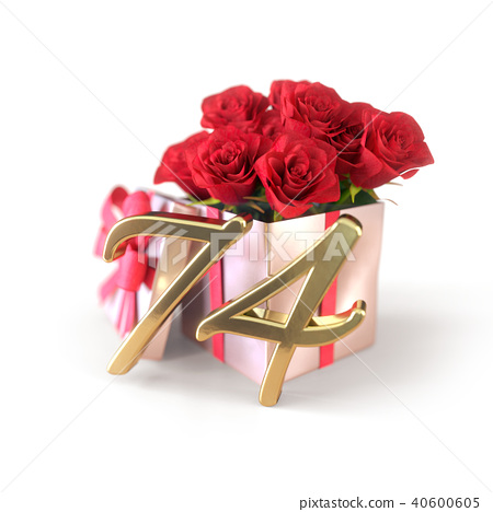 birthday concept with red roses in gift isolated on white background. seventy-fourth. 74th. 3D 40600605