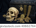 Still life human skull with old treasure chest  40602764