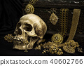 Still life human skull with old treasure chest  40602766