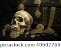 Still life human skull with old treasure chest  40602769