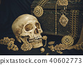 Still life human skull with old treasure chest  40602773