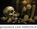 Still life human skull with old treasure chest  40602816