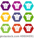Human back icon set color hexahedron 40604091