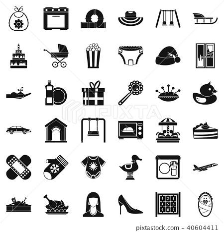 Brainchild icons set, simple style 40604411