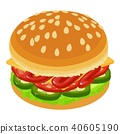 hamburger, icon, isometric 40605190