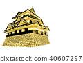 Japanese castle extant Tenshu Hikone Castle gold 40607257