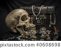 Still life human skull with old treasure chest  40608698