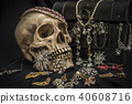 Still life human skull with old treasure chest  40608716