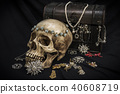 Still life human skull with old treasure chest  40608719