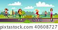 Girls leisure in park vector illustration 40608727