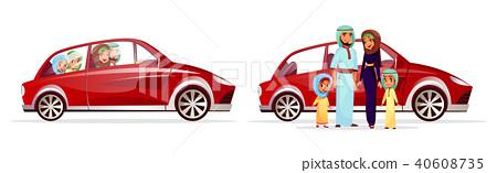 Arabian family in car vector illustration 40608735