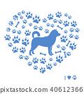 Shiba Inu silhouette on a background of dog tracks 40612366