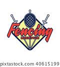 fencing logo, vector illustration 40615199