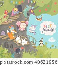 Cute treehouse with little girl and animals 40621956